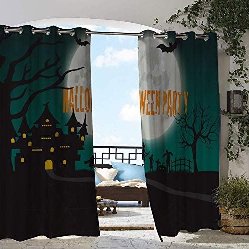 Patio Waterproof Curtain Halloween Party Moon Castle doorways Grommets Decor Curtains 120 by 84 inch
