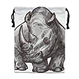 ZhiqianDF Rhinoceros Casual White Foldable Sack Polyester Drawstring Bag
