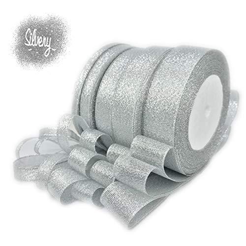 (JmYo Glitter Metallic Silver Ribbon, 0.24