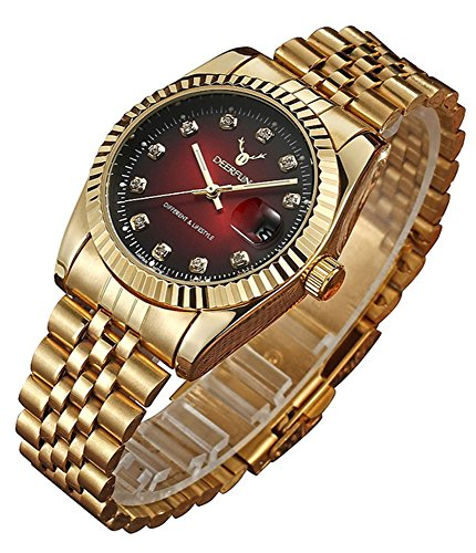 Fashion Luxury Stainless Steel Calendar Diamond Luminous Waterproof Sports Women Or Men Quartz Watch (Red Gold)