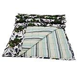 Decorative Cotton Quilt Floral Print Home Décor White Queen Size Reversible Bedspread India