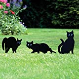 Parkland Pack of 3 Metal Cat (Bird, Animal,Fox, Pest) Scarers, Repeller, Rodent, Deterrent Garden