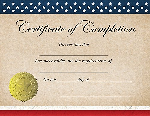 Great Papers! Patriotic Completion Certificate, 25 Count, 8.5