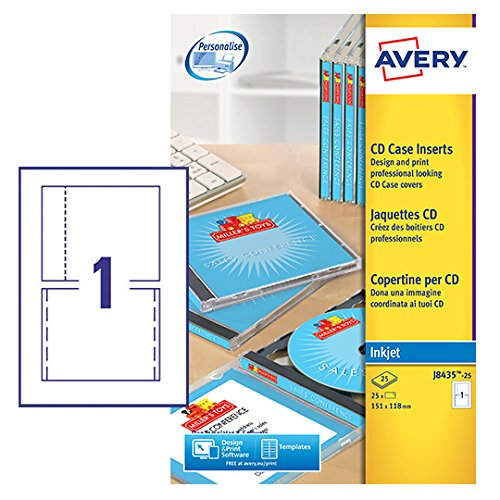 Avery J8435-25 CD Case Cover, Spine and Tray Inserts, 1 Label Per A4 (Cd Jewel Case Template)