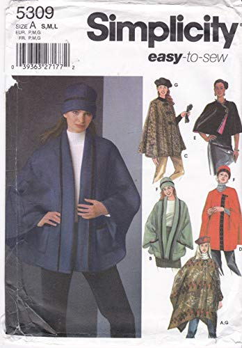 (Simplicity 5309 - Cape Capelet Poncho Hat Sewing Pattern Size A: Sm to Lg)