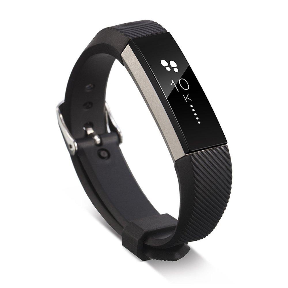 iStyleバンドfor Fitbit ALTA、Tpuソフトシリコンブレスレット交換用バンドTwillスタイル ブラック ブラック B074MY3ZZ3