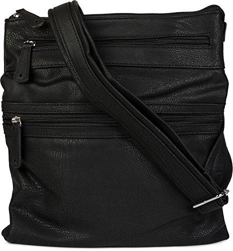 styleBREAKER bolso messenger, bolso de bandolera con compartimento con cremallera en la parte delantera, bolso de hombro, bolso, unisex 02012162, color:Negro Negro