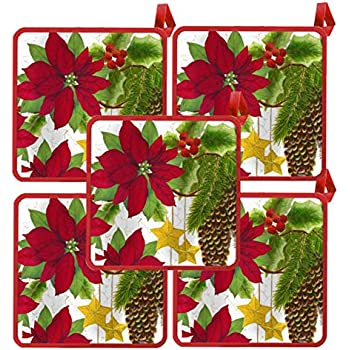 American Linen Christmas Potholders 10 Pack (Poinsettia Flower)