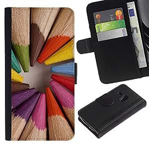 A-type (Pencil Coloring Wood Painter Artist) Colorida Impresión Funda Cuero Monedero Caja Bolsa Cubierta Caja Piel Card Slots Para Samsung Galaxy S3 MINI 8190 (NOT S3)