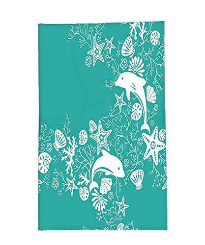Interestlee Fleece Throw Blanket Teal Sea Animals Decor Dolphins and Flowers Sea Floral Pattern Starfish Coral Seashell Wallpaper Pattern Art Teal White