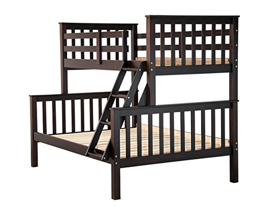 100% Solid Wood Mission Twin Over Full Bunk Bed by Palace Imports, Java, 26 Slats Included. Optional Drawers, Trundle, Rail Guard Sold Separately. Requires Assembly.