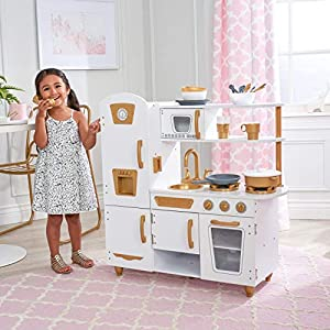 KidKraft Modern White Play Kitchen with Gold Accents & 27Piece Cookware Set – Amazon Exclusive