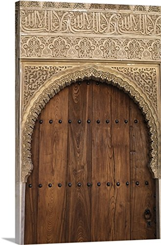 Kevin Schafer Premium Thick-Wrap Canvas Wall Art Print entitled Spain, Granada, Alhambra, Legendary Moorish Palace Interior Details by Canvas on Demand
