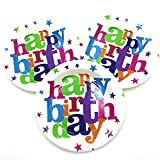 AFancy 40 Count 7-inch Happy Birthday Round Theme Party Cake Plates Dessert Papper Plates - Happy Birthday