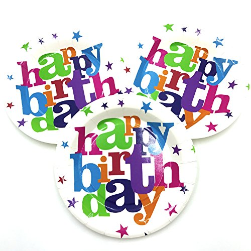 ReaLegend 40 Count 7-Inch Happy Birthday Round Theme Party Cake Plates Dessert Papper Plates - Happy Birthday ()