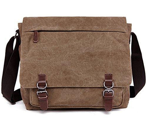 Imeing Canvas Messenger Bag Back to School One Shoulder Bag Work Bag Side Bag(Coffee)