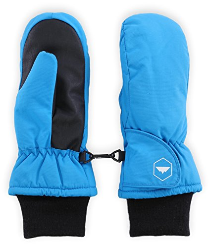 Kids Winter Mittens - Toddler Snow & Ski Mittens for Boys & Girls - Waterproof Children & Youth Mitts Gloves for Outdoor Play, Skiing & Snowboarding - With Thermal Nylon Shell & Synthetic Leather Palm