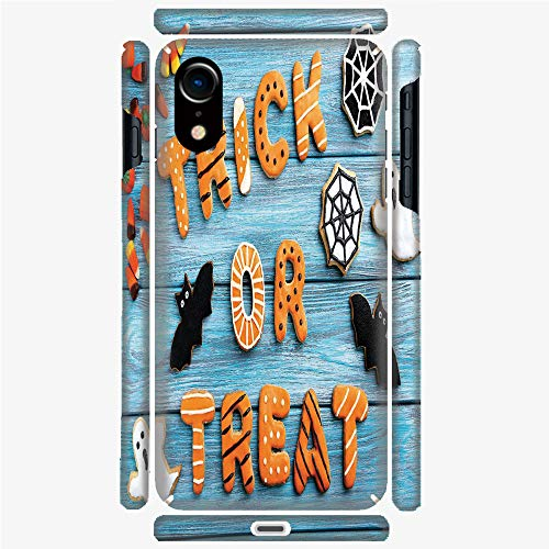 Phone Case Compatible with 3D Printed iPhone X/XS DIY Fashion Picture,Cookie Wooden Table Ghost Bat Web Halloween,Personalized Designed Hard Plastic Cell Phone Back Cover Shell Protective -