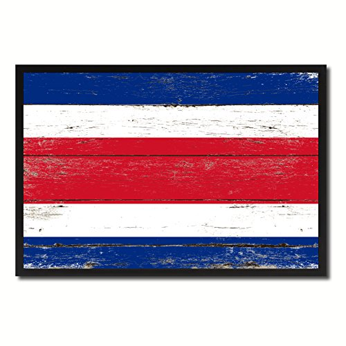 (Costa Rica Country Shabby Chic Flag Black Framed Canvas Print Gifts Home Decor Wall Art Decoration 25