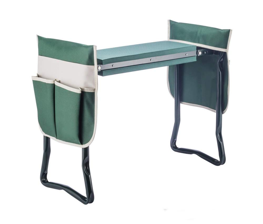 YANEE Foldable Kneeler Garden Bench Stool Soft Cushion Seat Pad Cushion Kneeling, Tool Pouch, Material: Steel Pipe, EVA, Dimensions: 22 3/4'' W × 11'' D × 19 1/3'' H