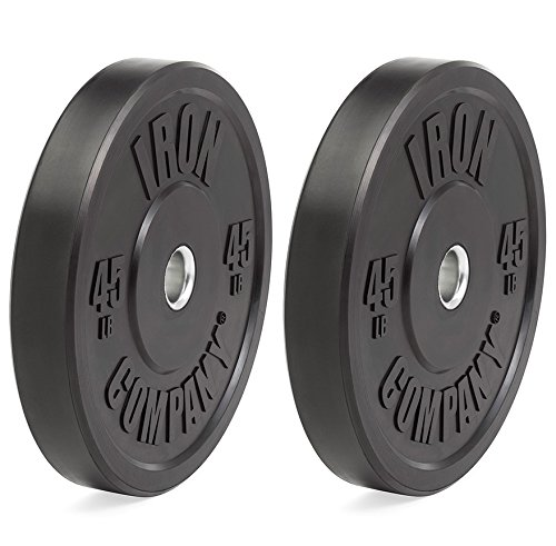 IRON COMPANY 45 lb. Premium Black Virgin Rubber Olympic Bumper Plates (PAIR) for Crossfit Workouts and Olympic Weightlifting - IWF Specifications by Ironcompany.com