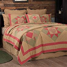 VHC Brands Dolly Star Bedspread Quilt Cotton Primitive Country Patchwork Bedding Accessory, Queen 90x90, Tan