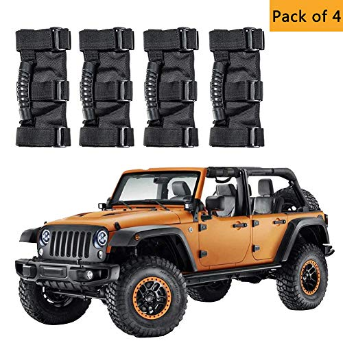 - AnnBay Roll Bar Grab Handles, Heavy Duty Wrangler Jeep Grip Handle Set, Easy-to-Fit Triple Banded for Security 1955-2018 Models, Safe Adventure Experience Car Accessory (Pack of 4)