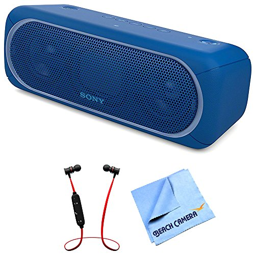 (Sony XB40 Portable Wireless Speaker with Bluetooth Blue (SRSXB40/BLUE) with Xtreme Fusion Bluetooth Headphones Black/Red & 1 Piece Micro Fiber Cloth)