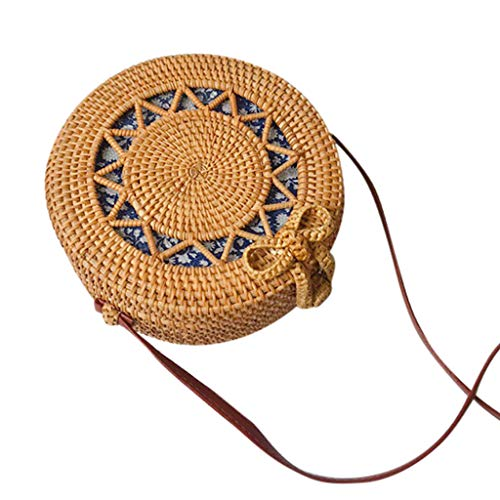cle Handwoven Bali Round Retro Rattan Straw Beach Bag Crossbody ()
