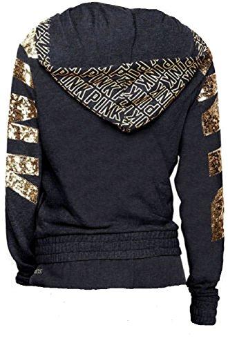 Victoria's Secret PINK Hoodie Sweatshirt Black & Gold Bling Full Zip- Medium by V Secret PINK