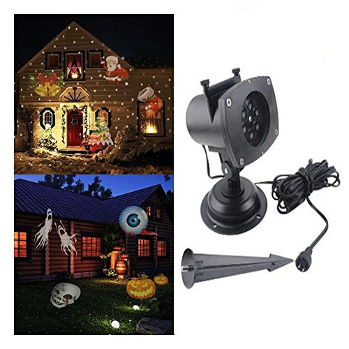 [E-COM Christmas Projector Lamp 12 Replaceable Lens 12 Colorful Patterns Night Lamp Halloween Birthday Wedding Decoration Lamp Auto Moving Plug-in Fairy] (Halloween Lighting)