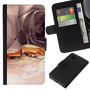 JackGot ( Anelli e rose ) LG Nexus 5 D820 D821 la tarjeta de Crédito Slots PU Funda de cuero Monedero caso cubierta de piel