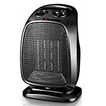 Wgwioo Space Heater, 1500W Quick Heat Ceramic Space Heater with Overheat Protection, Portable Electric Heater Fan,Black