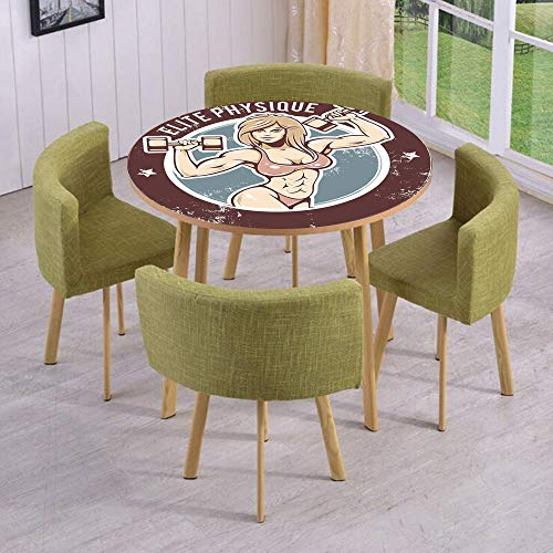 iPrint Round Table/Wall/Floor Decal Strikers,Removable,Retro Style Sexy Lady with Dumbbells Elite Physique Grunge Display Decorative,for Living Room,Kitchens,Office Decoration