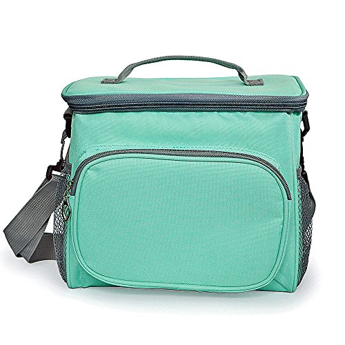 Insulated Resuable Bento Lunch Bag - Square Thermal Picnic Large Tote - Meal Prep Cooler Lunch Box Organizer Waterprrof Turquoise Freezable with Shoulder Strap for Adults Kids Women Men (Turquoise Lunch Box)