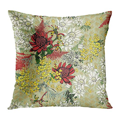 - Emvency Throw Pillow Cover Red Flowers Australian Native in Group on Sage Green Waratah Wattle Flannel Kangaroo Paw Grevillea Yellow Personalize Square Size 16 x 16 Inches Pillowcase Home Cushion Case