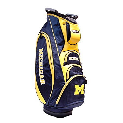 (Team Golf NCAA Michigan Wolverines Victory Golf Cart Bag, 10-way Top with Integrated Dual Handle & External Putter Well, Cooler Pocket, Padded Strap, Umbrella Holder & Removable Rain Hood)