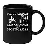 Motocross Black Coffee Mug, Grandpa Birthday Present Mug, Funny Mug for Coffee 11oz Some Grandpas play bingo, real Grandpas go Motocross