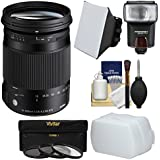 Sigma 18-300mm f/3.5-6.3 Contemporary DC Macro HSM Zoom Lens Flash + Soft Box & Diffuser + 3 Filters Kit Sony Alpha A-Mount DSLR Cameras