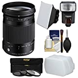 Sigma 18-300mm f/3.5-6.3 Contemporary DC Macro OS HSM Zoom Lens for Nikon DSLR Cameras with Flash + Soft Box & Diffuser + 3 UV/CPL/ND8 Filters + Kit
