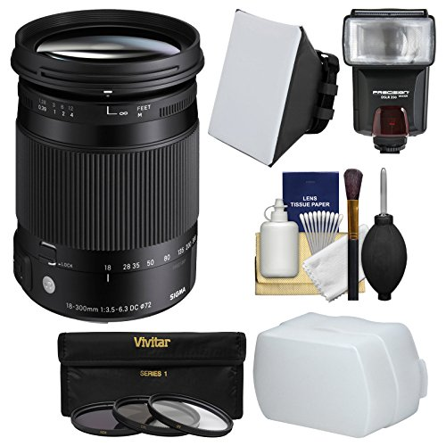 Sigma 18-300mm f/3.5-6.3 Contemporary DC Macro OS HSM Zoom Lens for Canon EOS DSLR Cameras with Flash + Soft Box & Diffuser + 3 UV/CPL/ND8 Filters Kit by Sigma