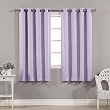 "Best Home Fashion Thermal Insulated Blackout Curtains - Antique Bronze Grommet Top - Lavender - 52""W x 63""L –Tie backs included (Set of 2 Panels)"