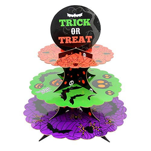 Halloween Themed Desserts (3 Tier Halloween Cardboard Cupcake Stand Tower Mini Round Cupcake Stand Dessert Cupcake Holder Halloween, Themed)