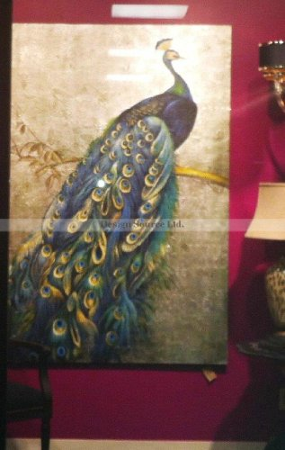 """Extra Large 72"""" Proud PEACOCK Hand Painted Oil Painting Oversize"""