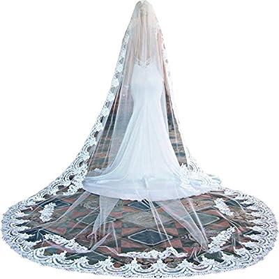 Newdeve 3M 1T White Wedding Dress Veils for Bride Lace Edge