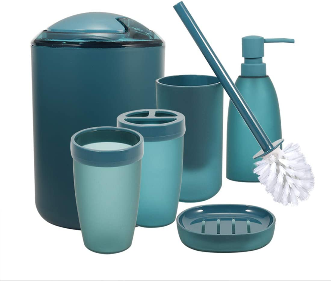 Amazon Com Imucci Blue 6pcs Bathroom Accessories Set With Trash Can Toothbrush Holder Soap Dispenser Soap And Lotion Set Tumbler Cup Kitchen Dining