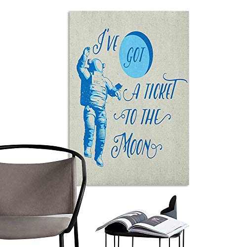 Brandosn Retro Poster Decorative Painting Astronaut Ive Got a Ticket to The Moon Astronaut Galaxy Celestial Journey into Space Pale Blue White Kitchen Room Wall W32 x H48 (Celestial Fireplace Screen)