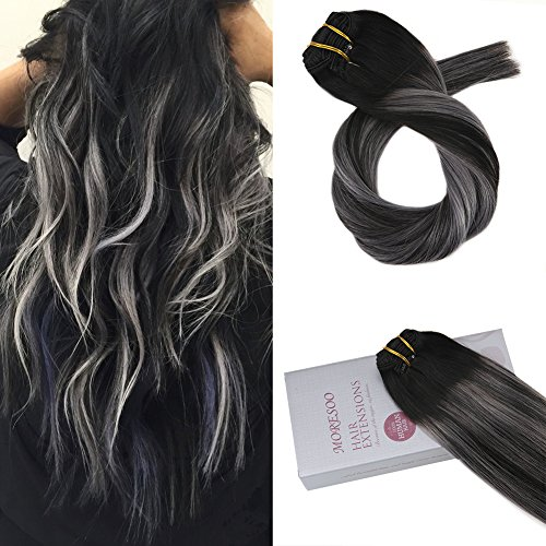 Moresoo 16 inch Clip in Human Hair Extensions Balayage Black