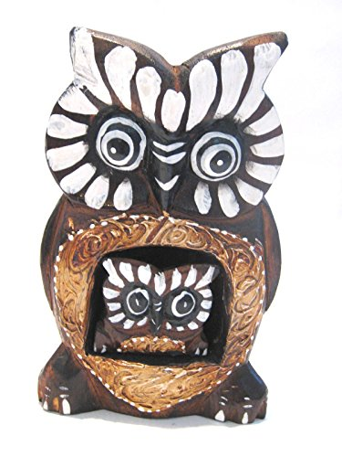 "Wooden Owl Mom Baby Hand Carved and Hand Painted Wood Bali Home Decor Sculpture 6"" #6854"