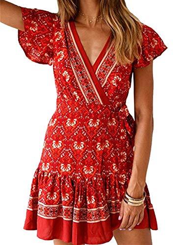 Women's Dresses Summer Bohemian Vintage Floral Printed Ruffle Hem Short Sleeve V-Neck Mini Dress(Jujube Flower,XXL)